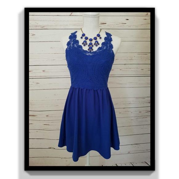 71534855ae0e H&M Dresses | H M Lace Dress Wseethrough Back Blue Size 8 | Poshmark